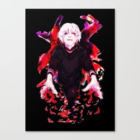 tokyo ghoul Canvas Prints featuring Kaneki Tokyo Ghoul 4 by Prince Of Darkness
