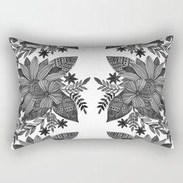 Watercolor sunflowers - black and white Rectangular Pillow