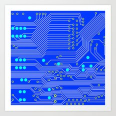 Blue Circuit Board  Art Print