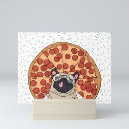 Funny Pug Pizza Mini Art Print