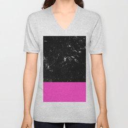Pink Meets Black Marble #1 #decor #art #society6 Unisex V-Neck