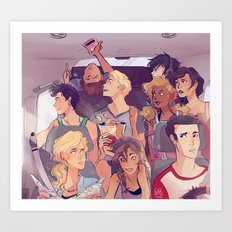 Demigods on a road trip Art Print