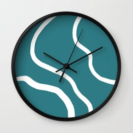 Contemporary Teal and White Abstract Wall Clock