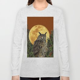 BROWN WILDERNESS OWL WITH FULL MOON & TREES Long Sleeve T-shirt