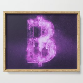 Thai Baht sign, Thailand baht symbol. Monetary currency symbol. Abstract night sky background. Serving Tray