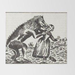 Werewolf attack Medieval etching Throw Blanket