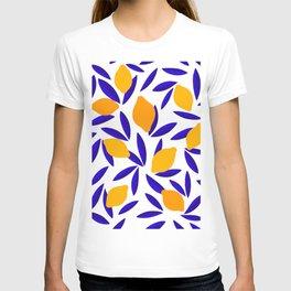 Blue and yellow Lemon Summery Pattern T-shirt