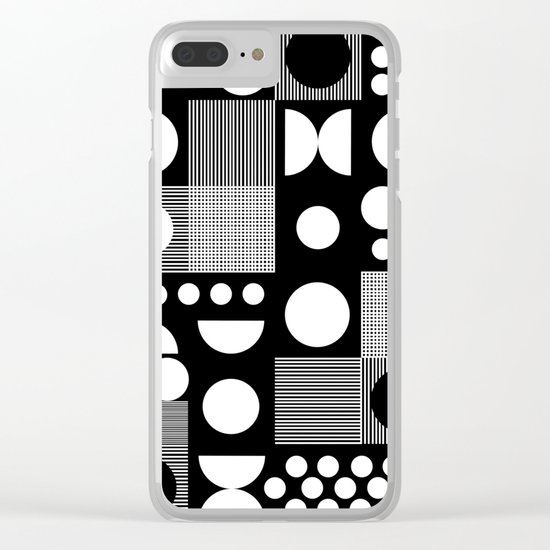 Black and white minimal pattern abstract scandi design geometric shapes Clear iPhone Case