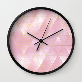 moody triangles // pink and golden Wall Clock