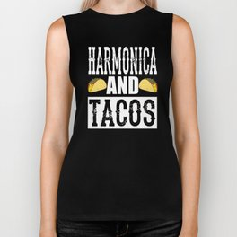 Harmonica and Tacos Funny Taco Band Biker Tank