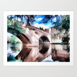 Framwellgate Bridge - Durham City Art Print