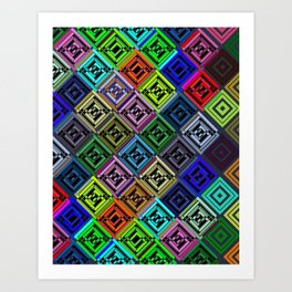 Cracked Multicolor Pattern Art Print
