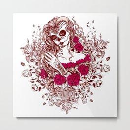 Sexy Woman zombie WITH Flower - Razzmatazz Metal Print