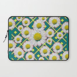 Teal Color Shasta Daisies Lime Pattern Art Abstract Laptop Sleeve