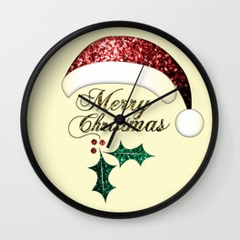 Merry Christmas Santa hat with red, gold and green sparkles Wall Clock