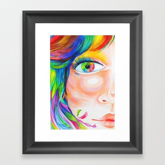 rainbow haired Framed Art Print