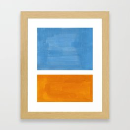 Rothko Minimalist Abstract Mid Century Color Black Square Periwinkle Yellow Ochre Framed Art Print