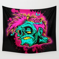 zombie Wall Tapestries featuring POP-ZOMBIE by BeastWreck
