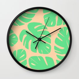 Monstera Leaf Print 3 Wall Clock