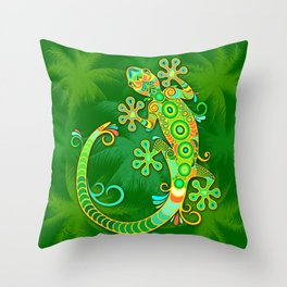 Gecko Lizard Colorful Tattoo Style Throw Pillow
