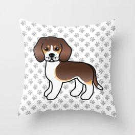 Cute Chocolate Tricolor Beagle Dog Cartoon Illustration Throw Pillow