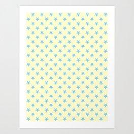 Baby Blue on Cream Yellow Stars Art Print