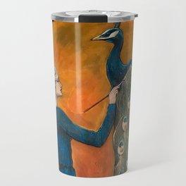 Origin of Inspiration // Peacock Painting Woman Portrait Art Nouveau Bird Stars Goddess Feather Travel Mug