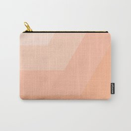 White, peach, coral, horizontal, diagonal stripe Carry-All Pouch