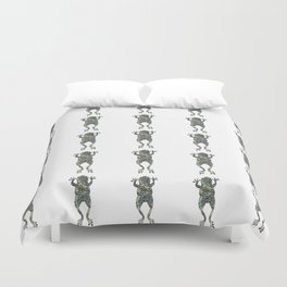 green lichen leaping frog silhouette Duvet Cover