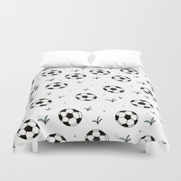 Fun grass and soccer ball sports illustration pattern Duvet Cover