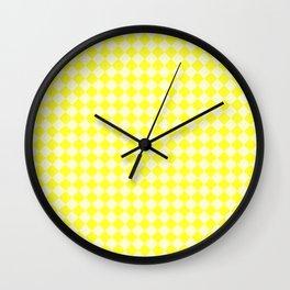 Cream Yellow and Electric Yellow Diamonds Wall Clock