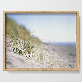 Sand dunes by the sea Serving Tray