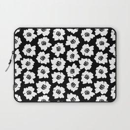Linocut botanical nature floral flower art nursery black and white decor newborn Laptop Sleeve