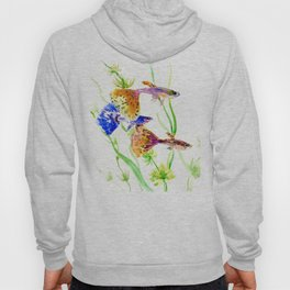 Guppy Fish colorful fish artwork, blue orange Hoody