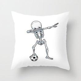 Dab Skeleton Soccer Throw Pillow