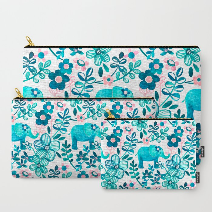 Dusty_Pink_White_and_Teal_Elephant_and_Floral_Watercolor_Pattern_CarryAll_Pouch_by_micklyn__Set_of_3