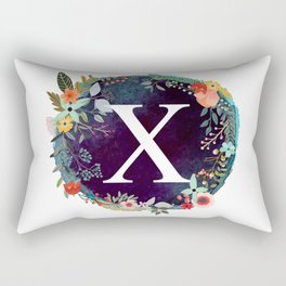 Personalized Monogram Initial Letter X Floral Wreath Artwork Rectangular Pillow