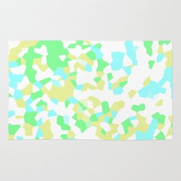 Blue, Yellow, and Green Mosaic Rug