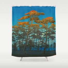 Vintage Japanese Woodblock Print Art Print Tall Sunset Trees Silhouette Twilight Forest East Asian Shower Curtain