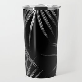 Silver Gray Black Palm Leaves Dream #1 #tropical #decor #art #society6 Travel Mug