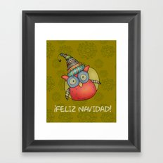 Puki Owl - mustard Framed Art Print