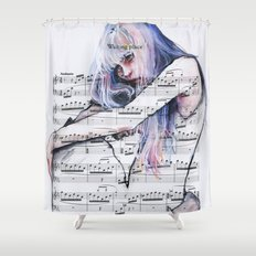 Waiting Place on sheet music Shower Curtain