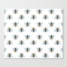 Watercolour Bee Pattern Canvas Print