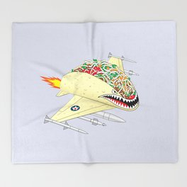 Taco Fighter Jet Throw Blanket