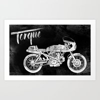 cafe racer Art Prints featuring Vintage Torque Cafe Racer by Mike Greenwell