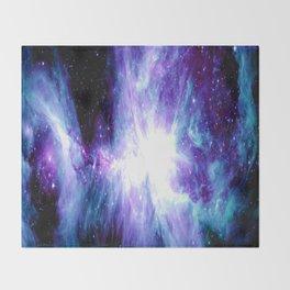Galaxy : Orion Nebula Violet Purple Teal Blue Throw Blanket