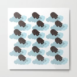 Hippo cloud-reading. Joy in the clouds collection. Metal Print