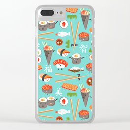 Happy Sushi Clear iPhone Case