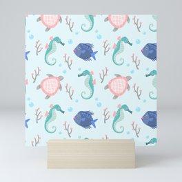 Cute Seahorse, Turtle & Fish Pattern Mini Art Print