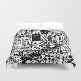 analog synthesizer system - modular black and white Duvet Cover